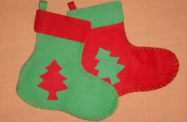 Botas navideñas con fieltro