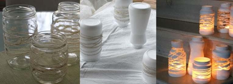 Reciclando frascos: portavelas